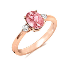 18ct Rose Gold 1.30ct Morganite Diamond Oval Cut Ring