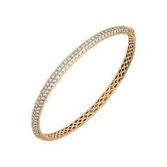 18ct Rose Gold 1.32ct Diamond Hinged Bangle