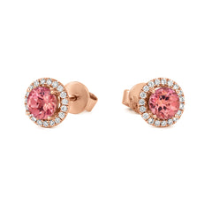 18ct Rose Gold 1.80ct Morganite Diamond Halo Stud Earrings