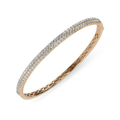 18ct Rose Gold 1.87ct Diamond Hinged Bangle