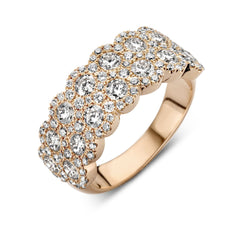 18ct Rose Gold 2.20ct Diamond Double Row Cluster Ring