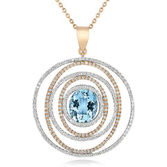 18ct Rose Gold 3.32ct Aquamarine Diamond Spiral Necklace