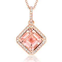 18ct Rose Gold 3.56ct Morganite Diamond Princess Cut Necklace