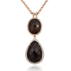 18ct Rose Gold 31.84ct Smokey Quartz Diamond Drop Necklace