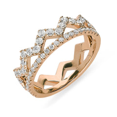 18ct Rose Gold 0.69ct Diamond Zigzag Stacking Ring