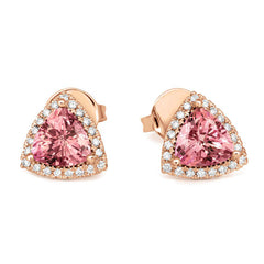 18ct Rose Gold 1.37ct Morganite Diamond Trillion Cut Earrings