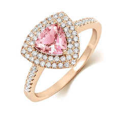 18ct Rose Gold Morganite and Diamond Trillion Cut Ring