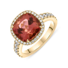 18ct Rose Gold Tourmaline and Diamond Cushion Halo Ring