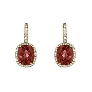 Hans D. Krieger 18ct Rose Gold Tourmaline Diamond Drop Earrings
