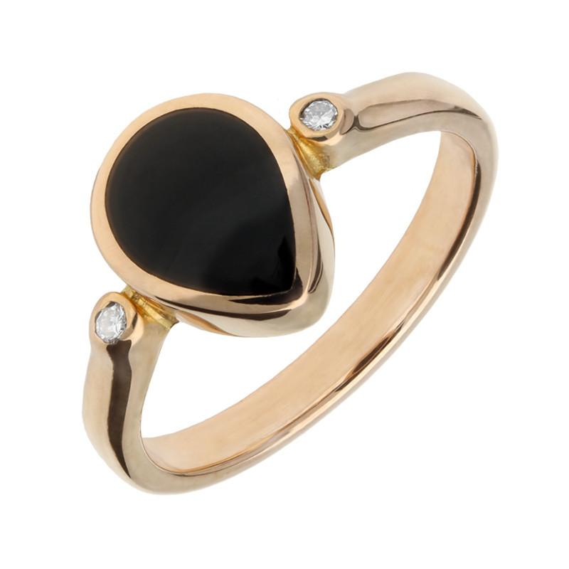 Stockists of 18ct Rose Gold Whitby Jet 0.04ct Diamond Pear Ring