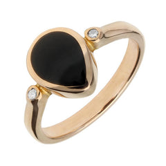 18ct Rose Gold Whitby Jet 0.04ct Diamond Pear Ring
