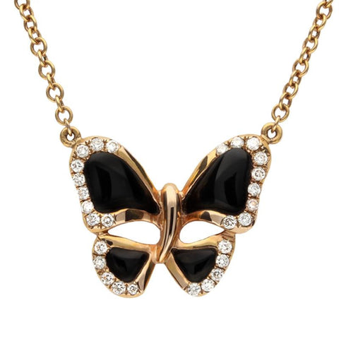 18ct Rose Gold Whitby Jet 0.19 Carat Diamond Butterfly Necklace