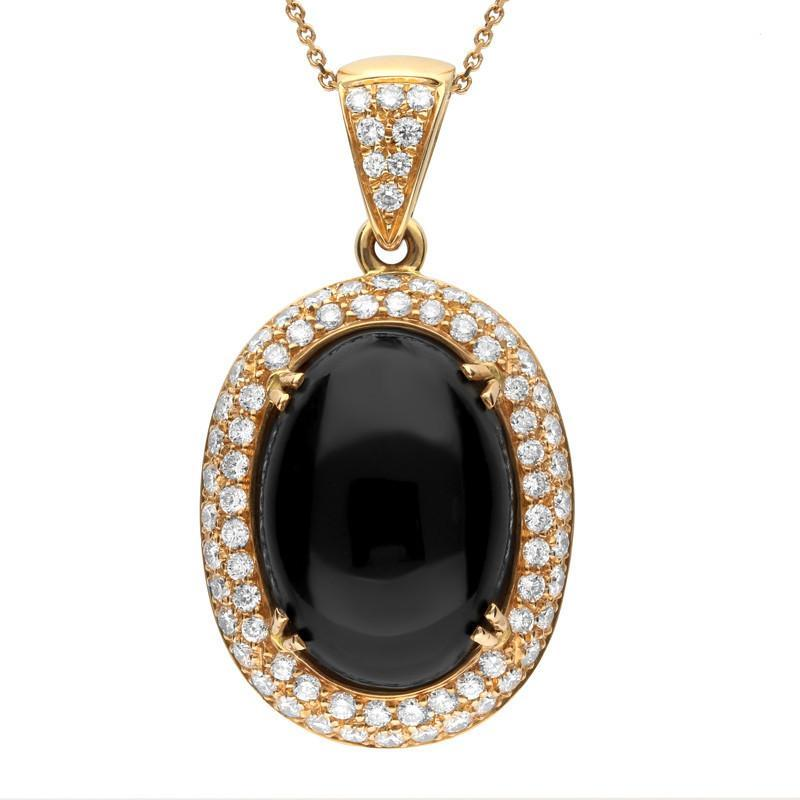 Stockists of 18ct Rose Gold Whitby Jet 1.57ct Diamond Large Oval Necklace