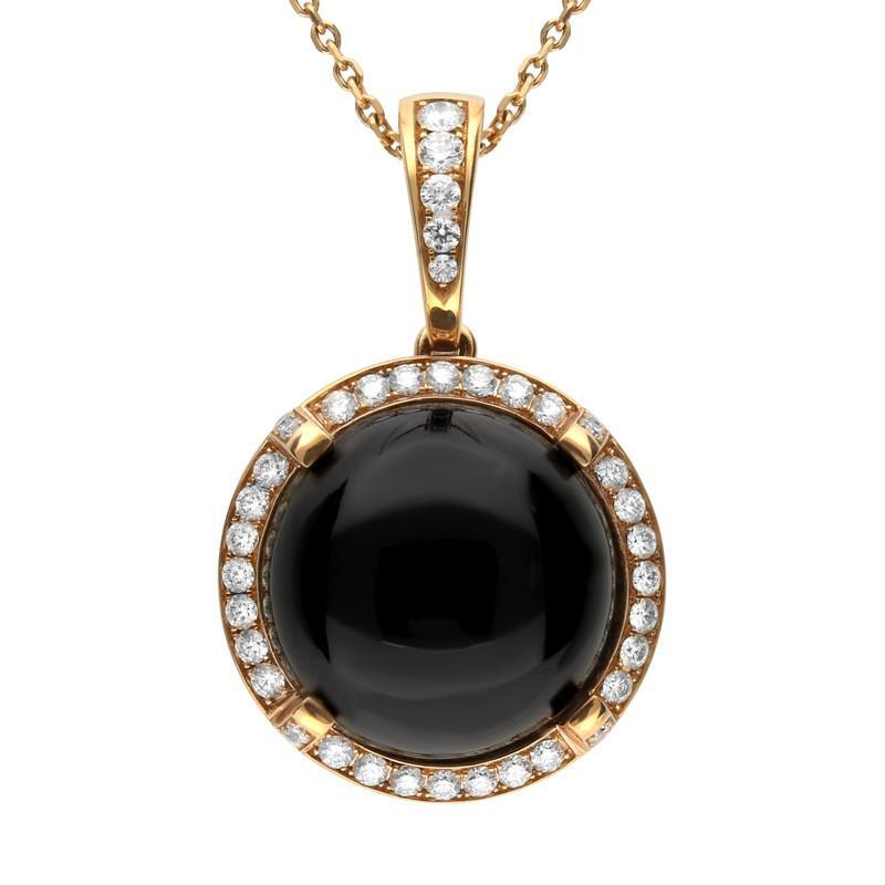 18ct Rose Gold Whitby Jet Diamond Four Claw Round Necklace