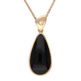 18ct Rose Gold Whitby Jet Diamond Pear Drop Necklace, P1017C