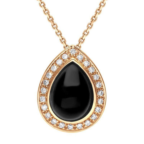 18ct Rose Gold Whitby Jet 0.13ct Diamond Pear Shape Necklace