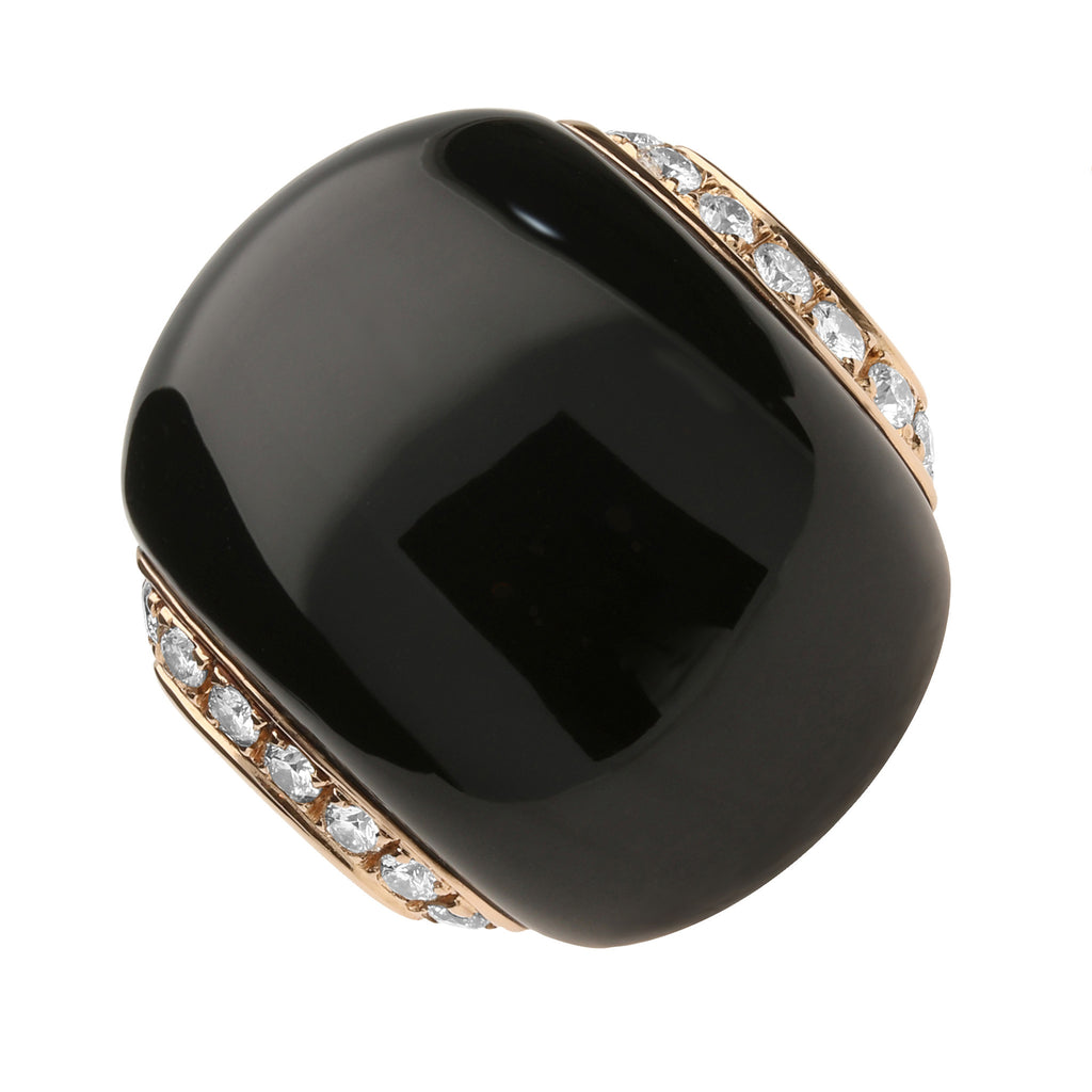 18ct Rose Gold Whitby Jet Diamond Ring