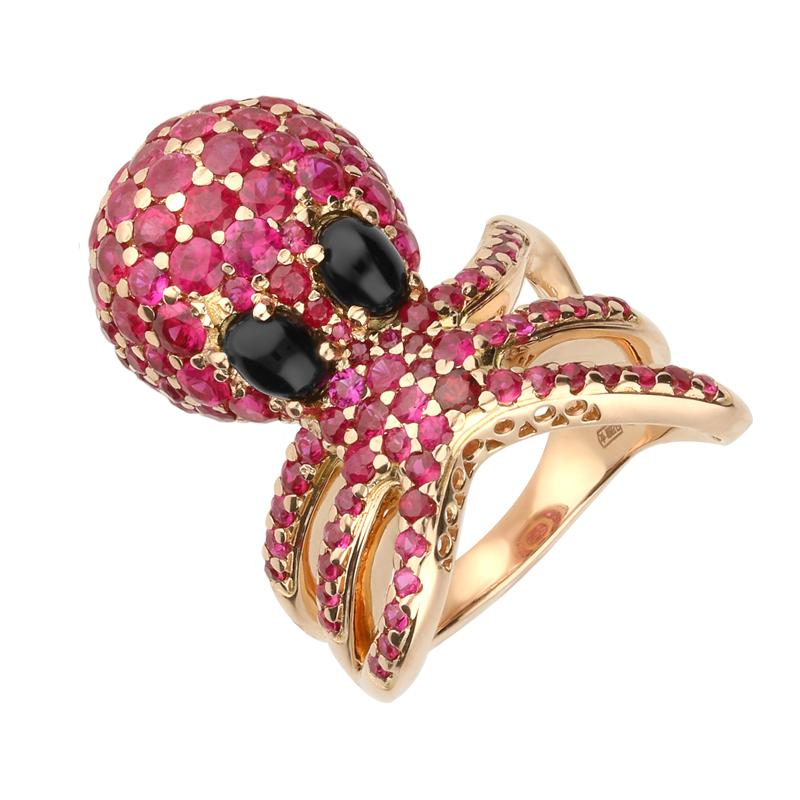 18ct Rose Gold Whitby Jet Ruby Octopus Ring