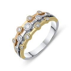 18ct Rose, White and Yellow Gold 0.28ct Diamond Bubble Ring