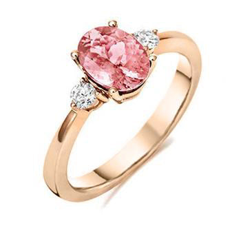18ct Rose Gold Morganite Diamond Three Stone Ring