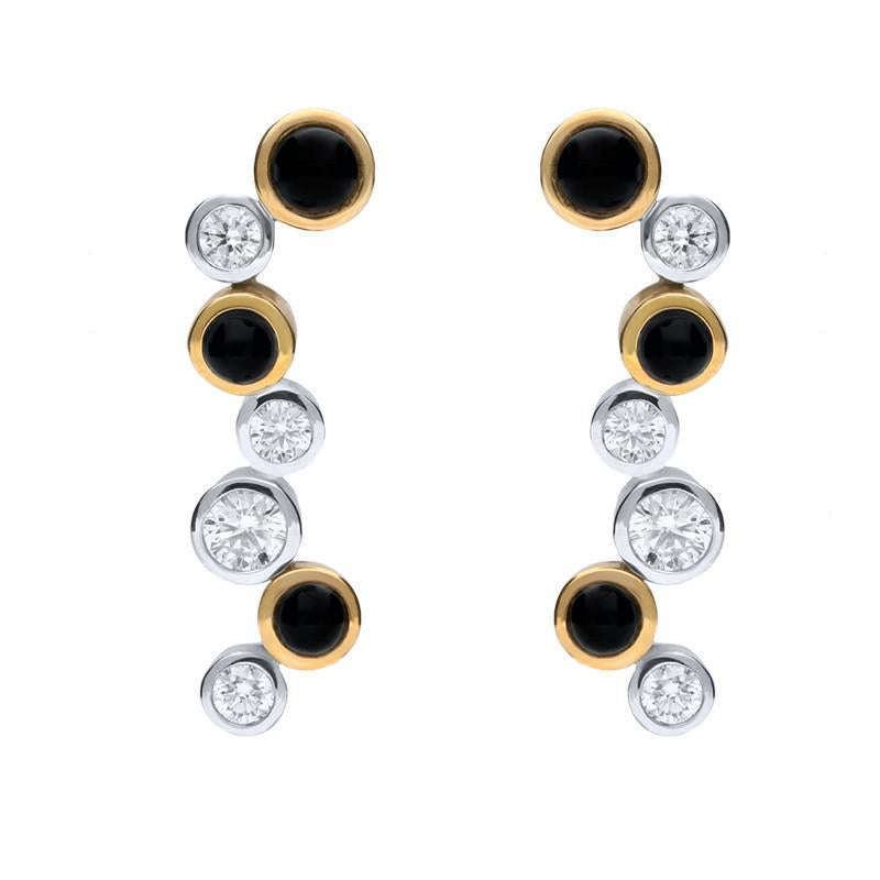 18ct White Yellow Gold Whitby Jet 0.90ct Diamond Drop Earrings