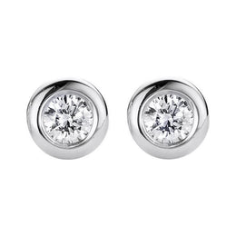 18ct White Gold 0.10ct Diamond Bezel Set Solitaire Stud Earrings