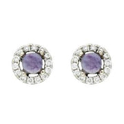 18ct White Gold 0.10ct Diamond Blue John Round Stud Earrings, E1997.