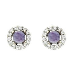 18ct White Gold Blue John and  Diamond Round Stud Earrings