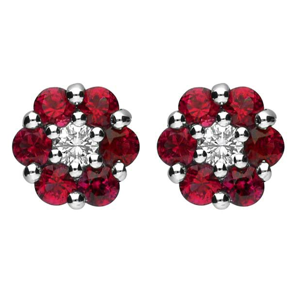 18ct White Gold 0.10ct Diamond Ruby Cluster Stud Earrings