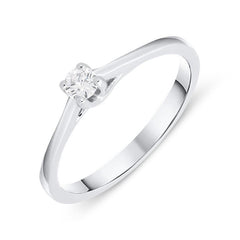 18ct White Gold 0.11ct Brilliant Cut Diamond Solitaire Ring