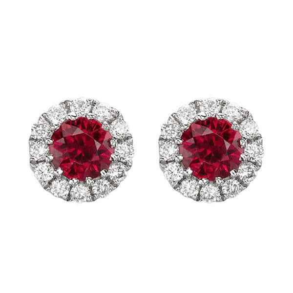 18ct White Gold 0.11ct Diamond Ruby Round Cluster Stud Earrings