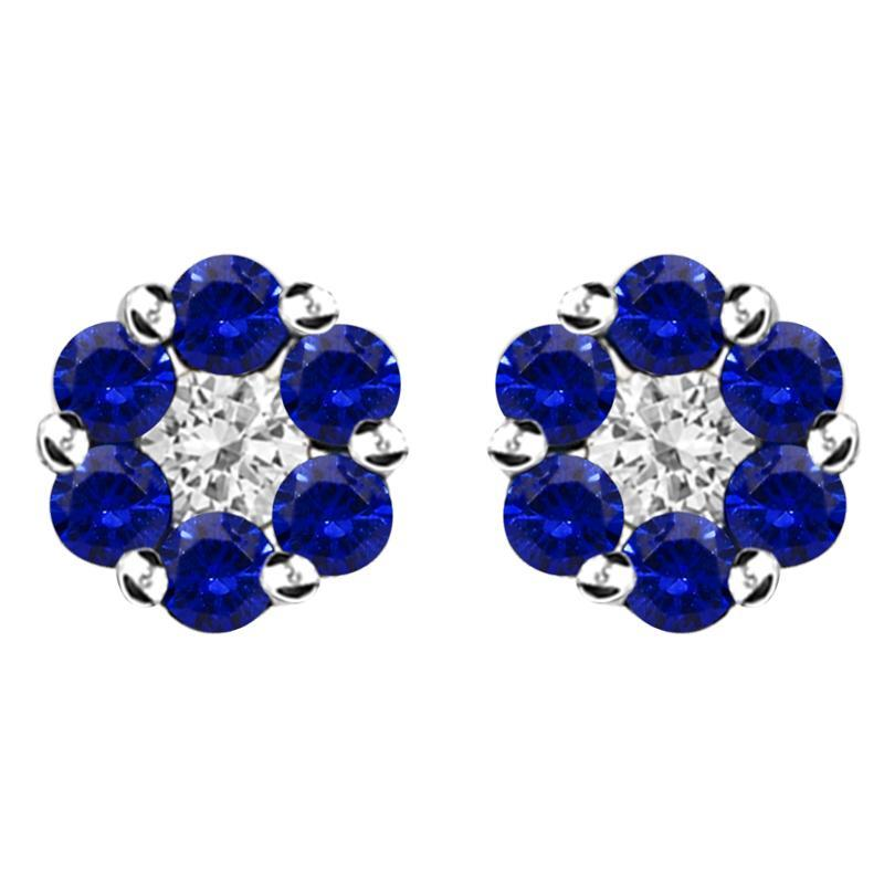 18ct White Gold 0.42ct Sapphire Diamond Cluster Stud Earrings