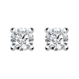 18ct White Gold 0.14ct Diamond Claw Set Solitaire Stud Earrings BLC-043