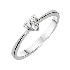18ct White Gold 0.14ct Diamond Three Stone Heart Ring