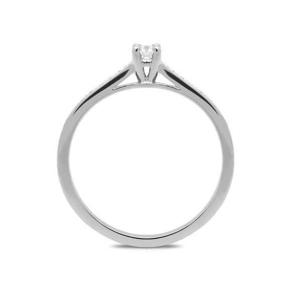 18ct White Gold 0.15ct Diamond Channel Set Solitaire Ring, BLC-031.