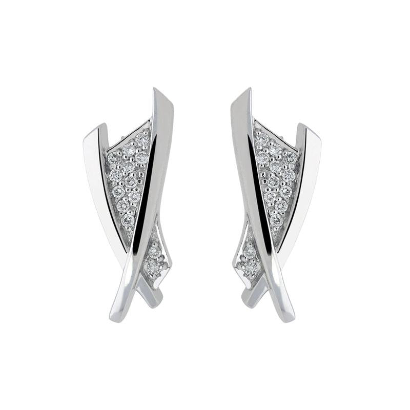 18ct White Gold 0.15ct Diamond Crossover Stud Earrings
