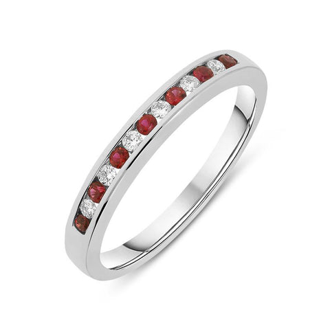 18ct White Gold Ruby and Diamond Half Eternity Ring