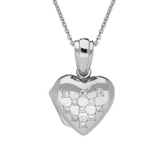 18ct White Gold 0.17ct Diamond Heart Locket