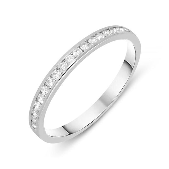 18ct White Gold 0.19ct Diamond Channel Set Half Eternity Ring, R1031.