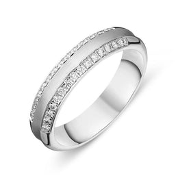 18ct White Gold 0.22ct Diamond Wedding Ring FJT-058