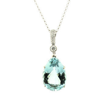 18ct White Gold 0.25ct Diamond 9.90ct Aquamarine Pear Drop Necklace