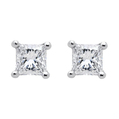18ct White Gold 0.30ct Diamond Solitaire Princess Cut Stud Earrings