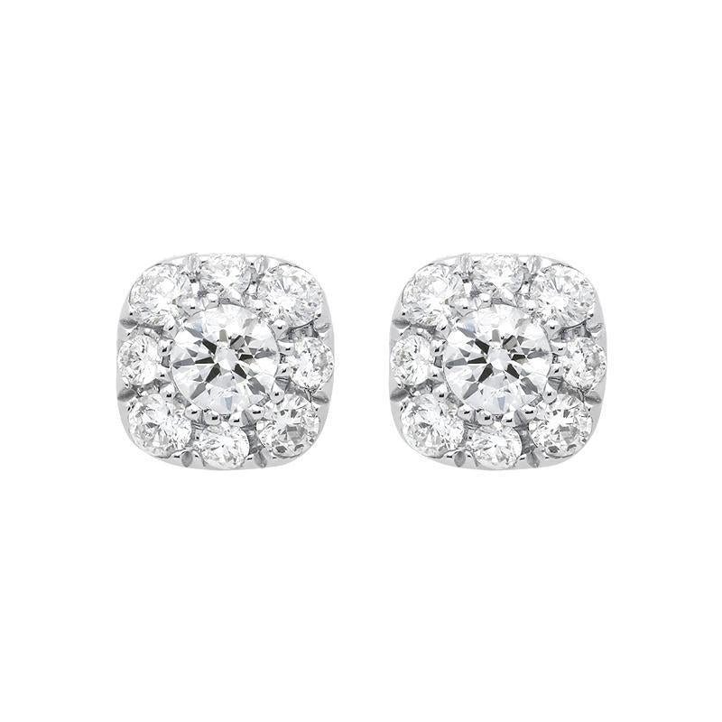 18ct White Gold 0.31ct Diamond Cushion Stud Earrings