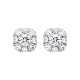 18ct White Gold 0.31ct Diamond Cushion Stud Earrings E2116