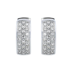 18ct White Gold 0.33ct Diamond Pave Hoop Earrings