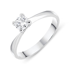 18ct White Gold 0.36ct Brilliant Cut Diamond Solitaire Twist Ring