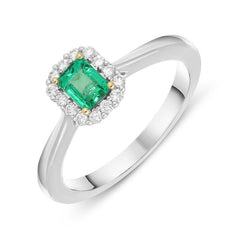 18ct White Gold 0.36ct Emerald Diamond Emerald Cut Ring