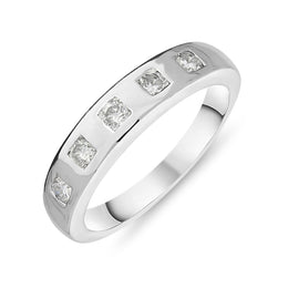18ct White Gold 0.39ct Diamond Brilliant Cut Half Eternity Ring FEU-850