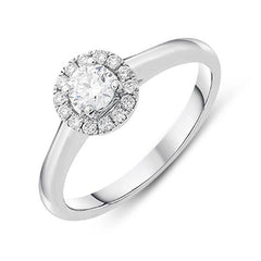 18ct White Gold 0.40ct Diamond Brilliant Cut Halo Ring