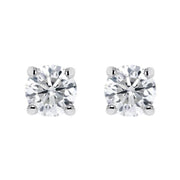 18ct White Gold 0.40ct Diamond Claw Set Solitaire Stud Earrings, BLC-044.